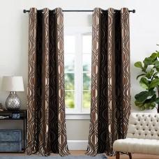 "Curtain Jacquard Eye leaf 60"" Chocolate"