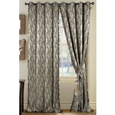 Curtain Jaquard Leaf Dark Beige/Black Mix 108""